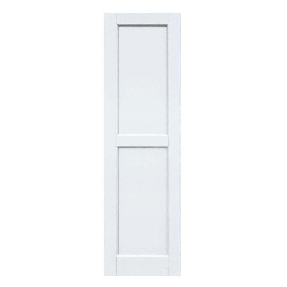 Winworks Wood Composite 15 in. x 52 in. Contemporary Flat Panel Shutters Pair #631 White