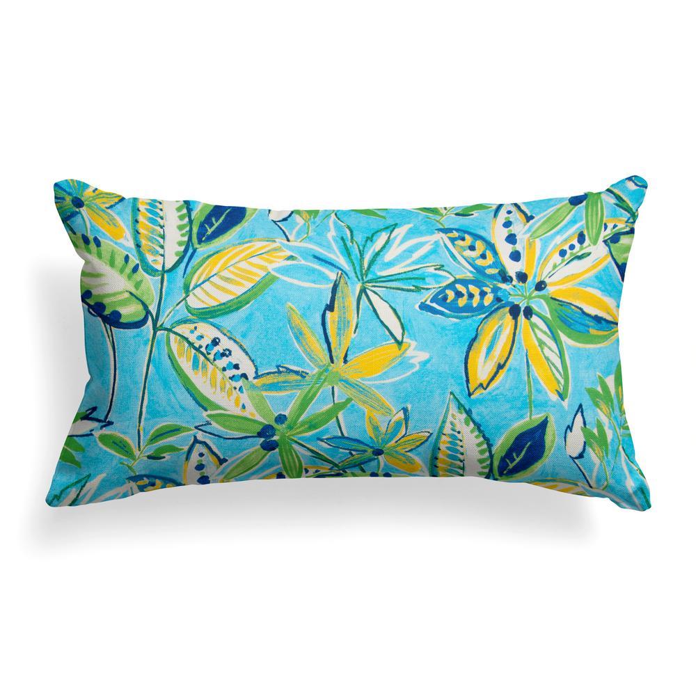 Flower Garden Blue Rectangular Lumbar Outdoor Pillow