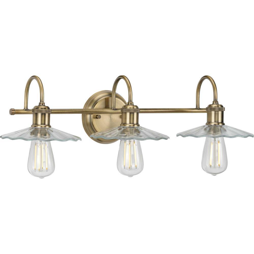 Fayette 3-Light Vintage Brass Bath Light