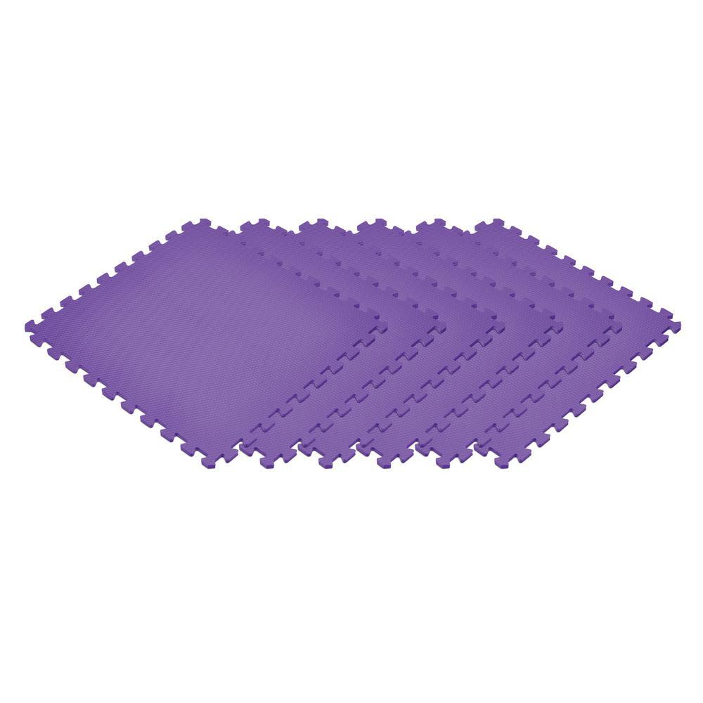 Purple 24 in. x 24 in. EVA Foam Non-Toxic Solid Color Interlocking Tiles (72 sq. ft. - 18 tiles)