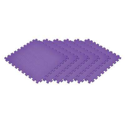 Purple 24 in. x 24 in. x 0.47 in. Foam Interlocking Floor Mat (6-Pack)