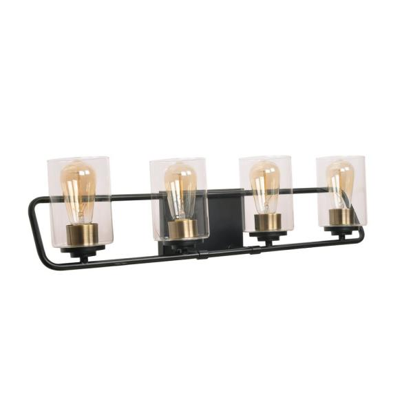 Carleigh 28.5 in. 4-Light Black and Antique Brass Vanity Light with Clear Glass Shades