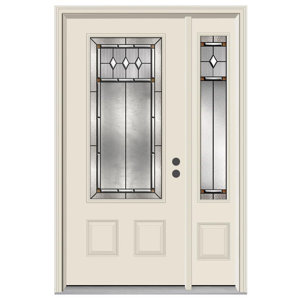 JELD-WEN 52 in. x 80 in. 3/4 Lite Mission Prairie Primed Steel Prehung Left-Hand Inswing Front Door with Right-Hand Sidelite