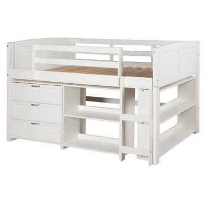 White Twin Louver Low Loft Bed with 3-Drawer Chest and 2-Sets of Shelves