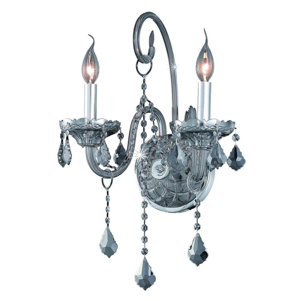 2-Light Silver Shade Wall Sconce with Silver Shade Grey Crystal