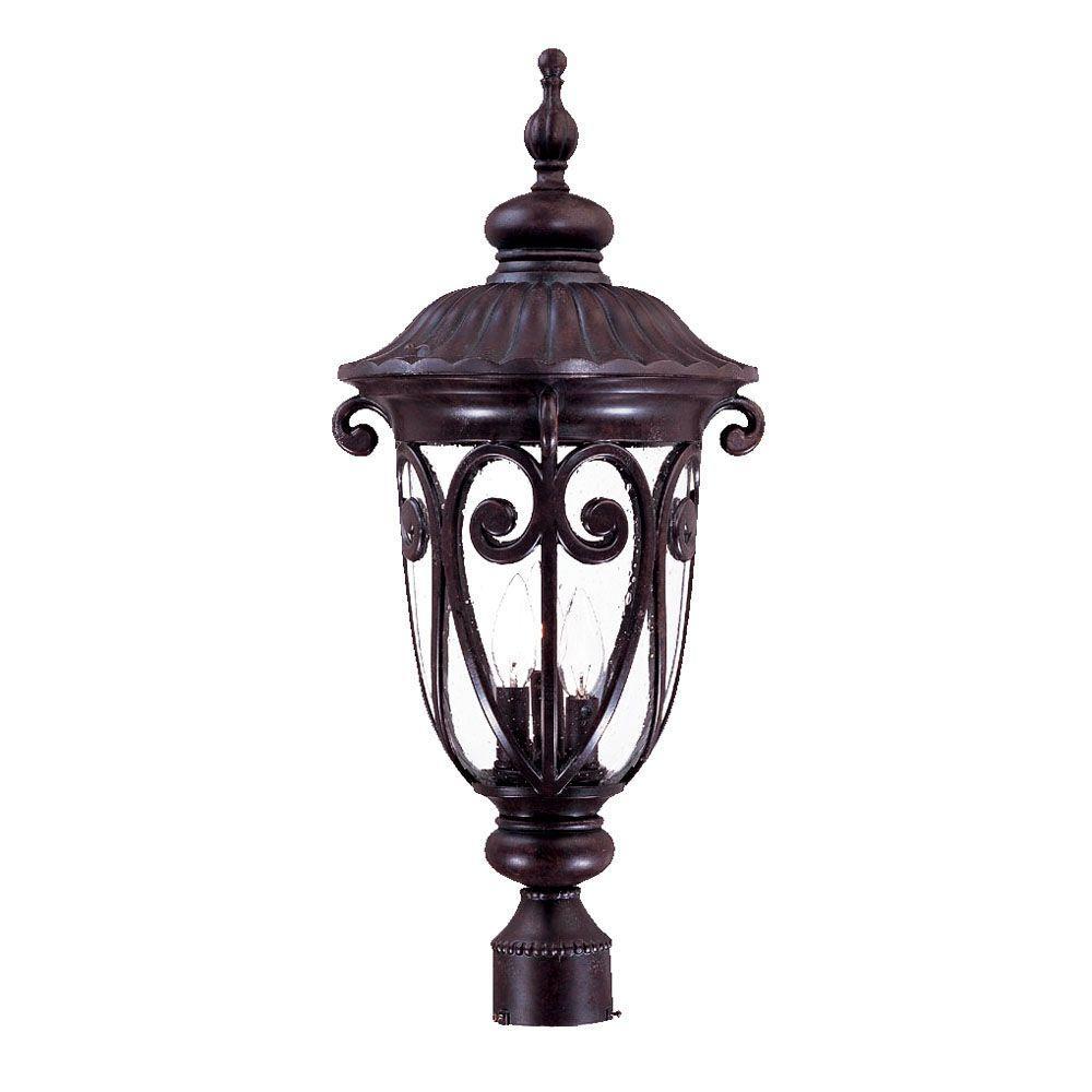 Naples 3-Light Marbleized Mahogany Outdoor Post-Mount Light Fixture
