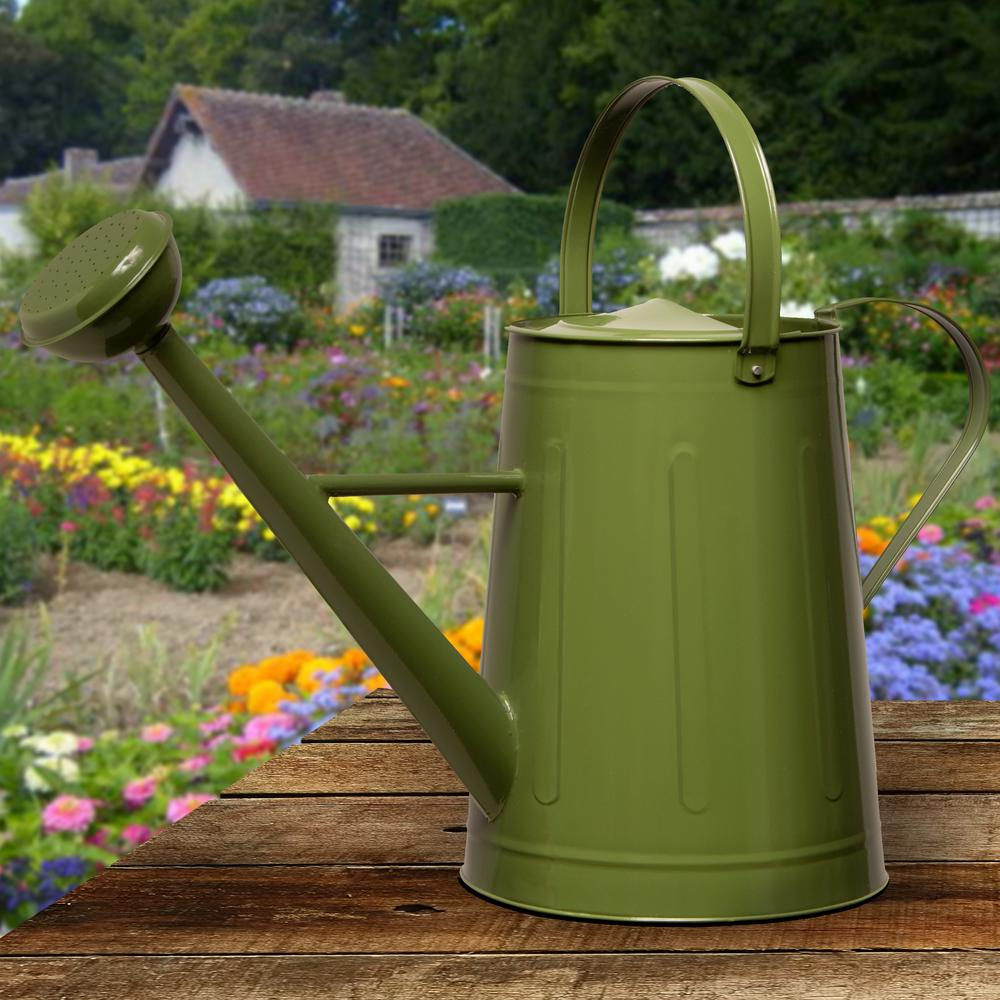 National Tree Company Garden Accents 17 in. Green Metal Watering Can ...