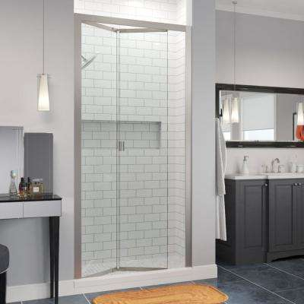 Infinity 31 in. x 72 in. Semi-Frameless Bi-Fold Shower Door in Brushed Nickel with Handle