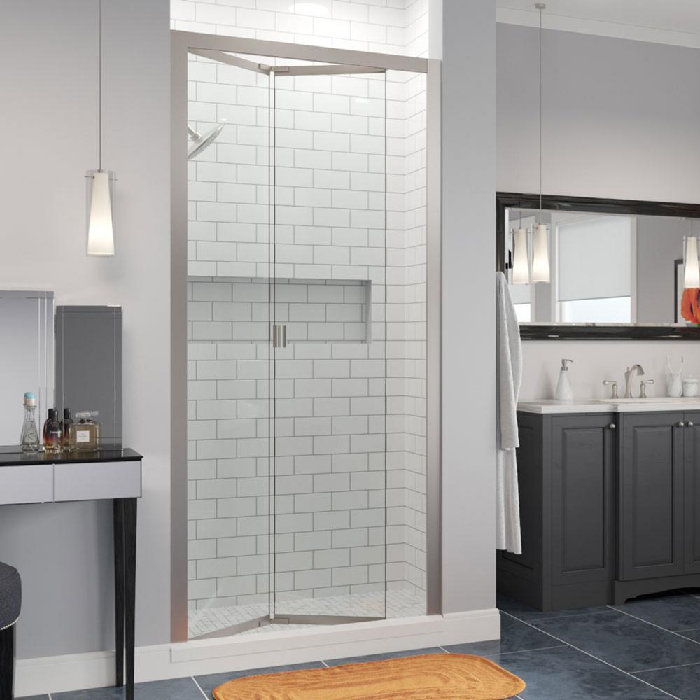 Infinity 33 in. x 67 in. Semi-Frameless Bi-Fold Shower Door in Brushed Nickel with Handle