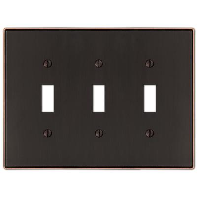 Ansley 3 Gang Toggle Metal Wall Plate - Aged Bronze