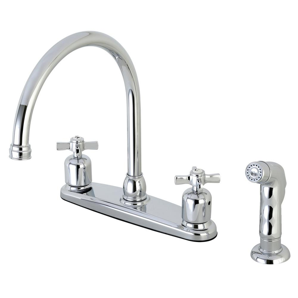 Kingston brass modern cross 2 handle high arc standard kitchen faucet with side sprayer in