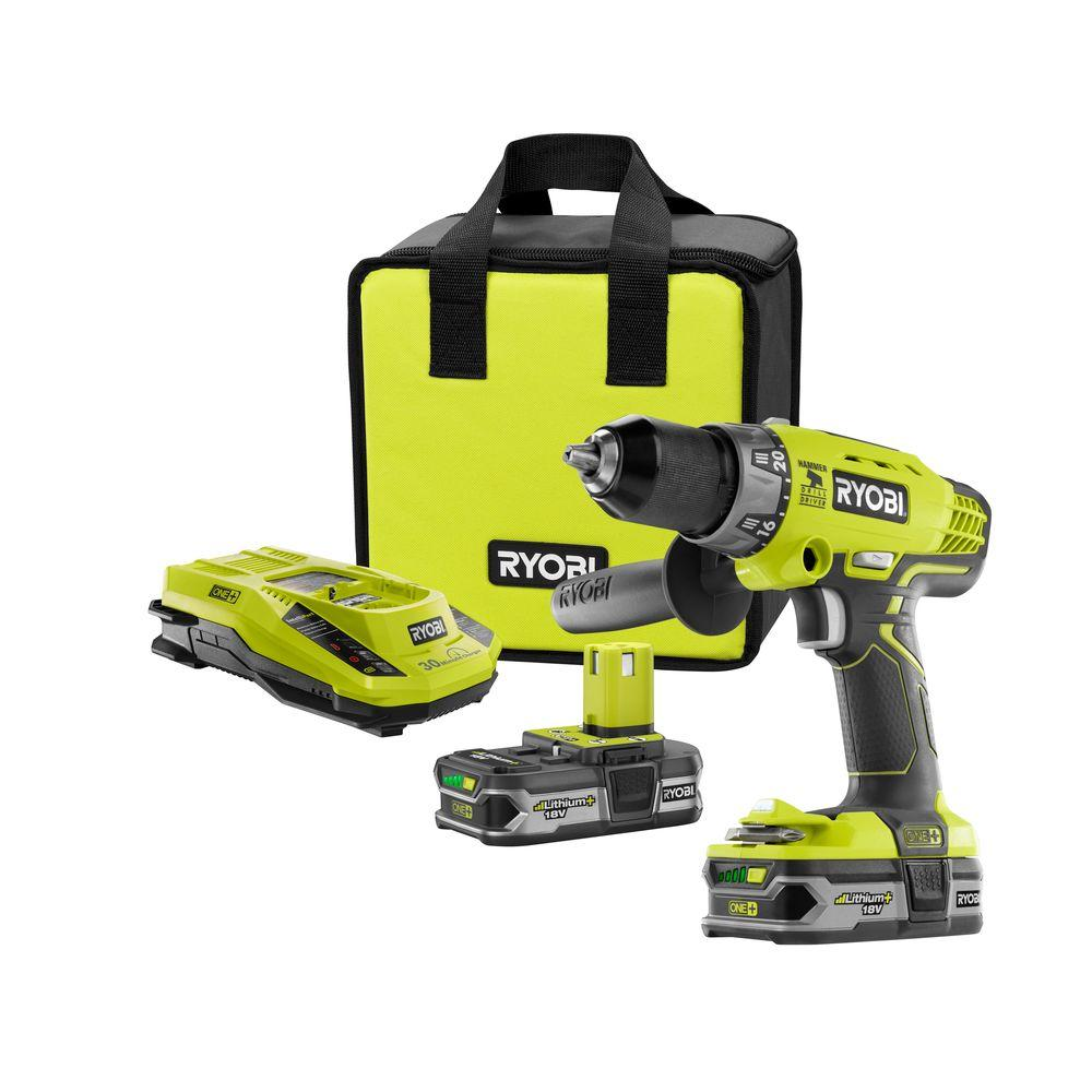 RYOBI 18-Volt ONE+ Lithium-Ion Cordless 1/2 in. Hammer Drill/Driver Kit with (2) 1.5 Ah Batteries, Charger, and Tool Bag