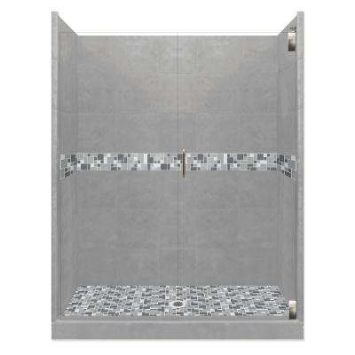 Newport Grand Hinged 42 in. x 60 in. x 80 in. Center Drain Alcove Shower Kit in Wet Cement and Satin Nickel Hardware
