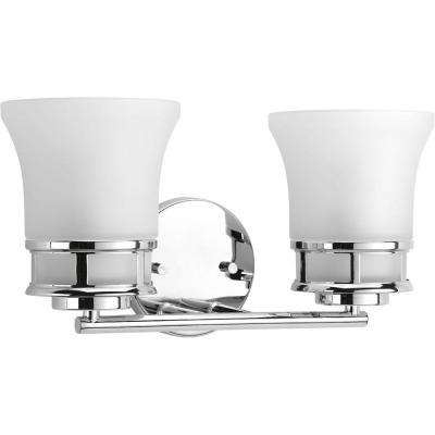 Cascadia Collection 16 in. 2-Light Polished Chrome Bathroom Vanity Light with Glass Shades