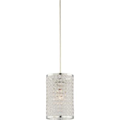 1-Light Chrome Sparkling Clear Crystal Cylindrical Hanging Mini Pendant