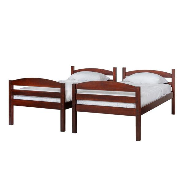 Traditional Solid Wood Twin over Twin Bunk Bed - Espresso