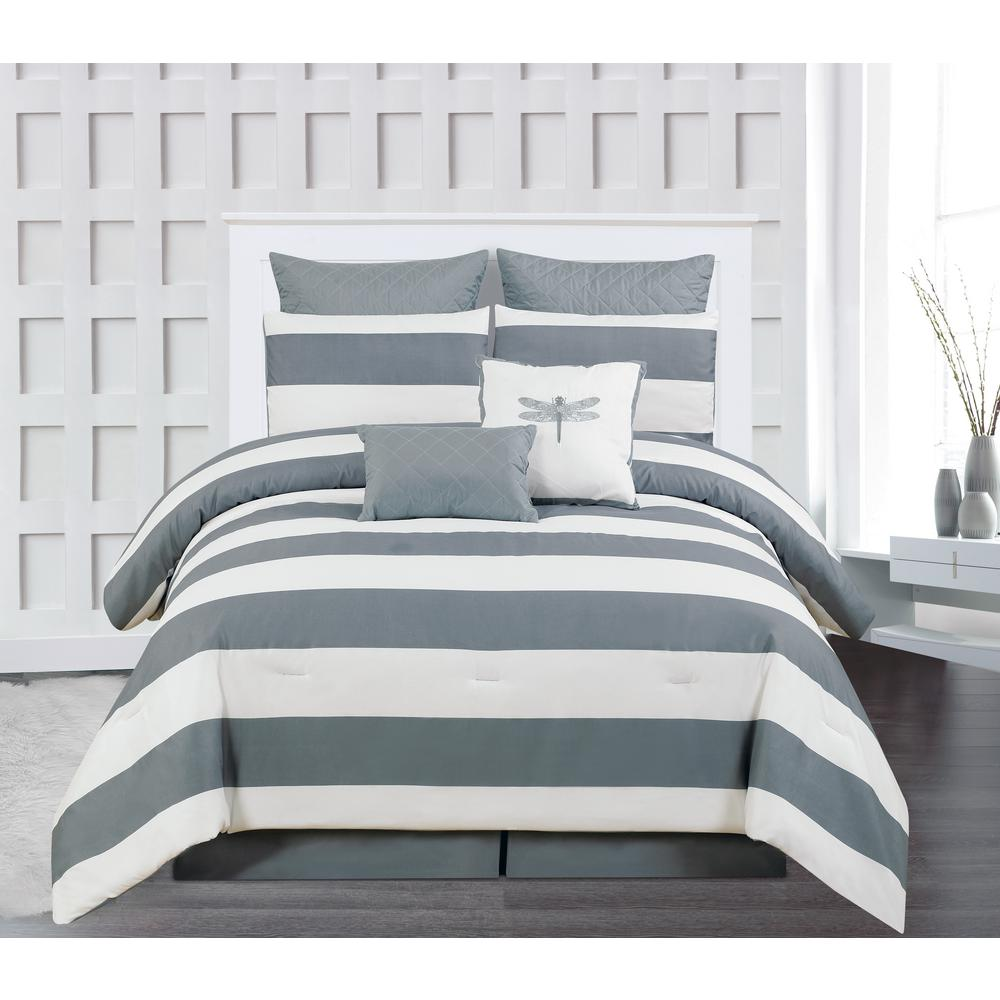 Delia Stripe Printed Online King 7-Piece Grey ComforterSet