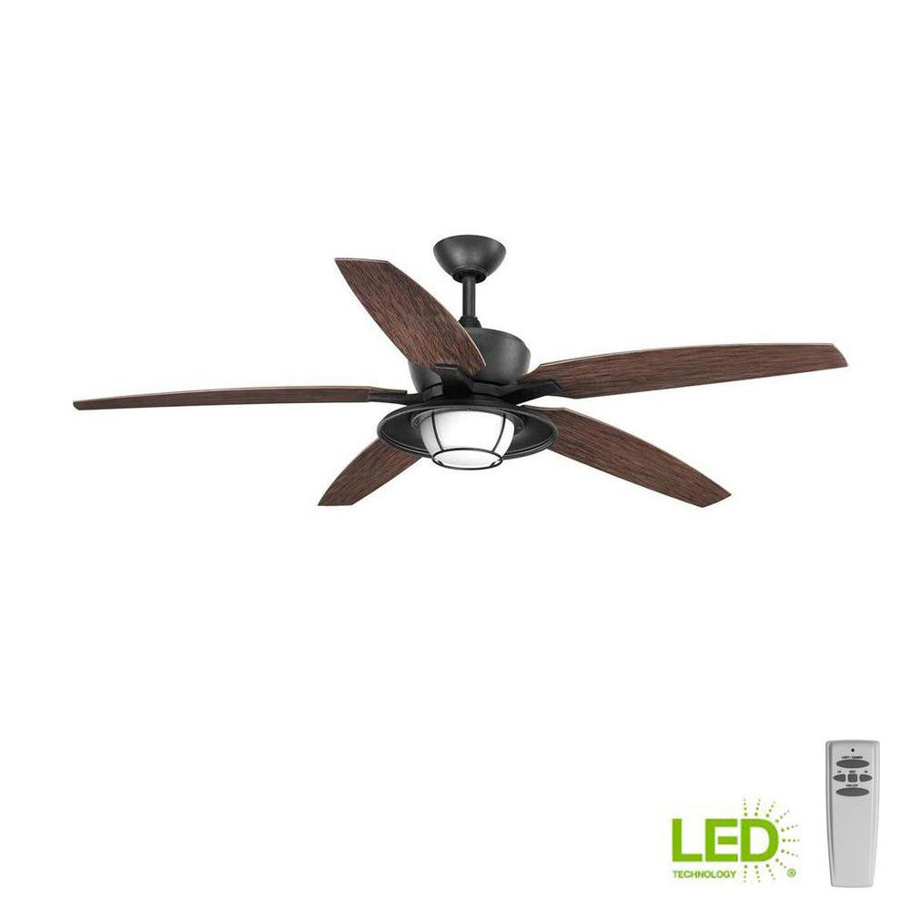 Progress Lighting Montague Collection 60 In Led Forged Black Ceiling Fan With Light Kit And Remote