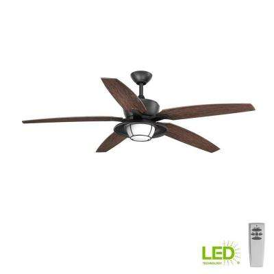 Montague Collection 60 in. LED Forged Black Ceiling Fan with Light Kit and Remote