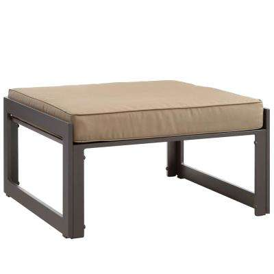 Fortuna Aluminum Outdoor Patio Ottoman in Brown with Mocha Cushion