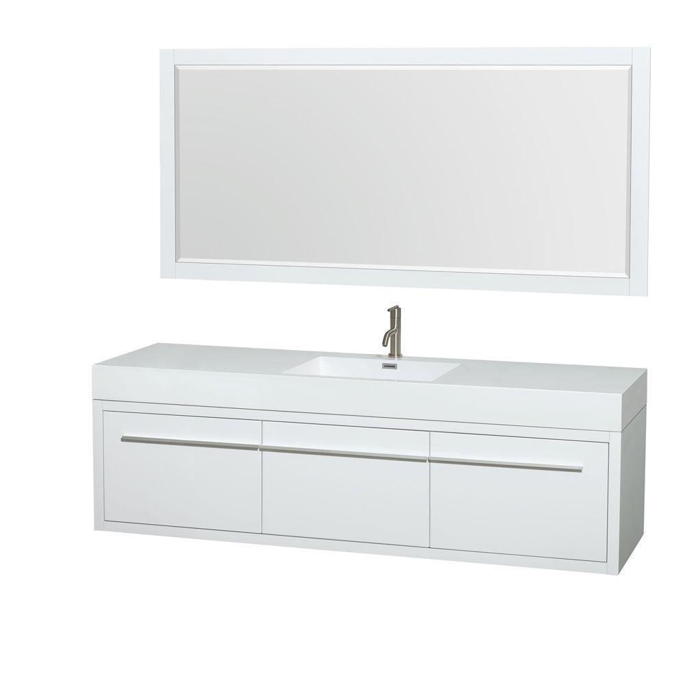 Axa 72 in. Vanity in Glossy White with Acrylic-Resin Vanity Top