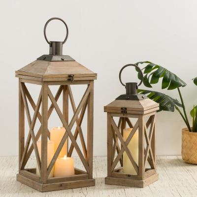 Set of 2-Mondern Brown Farmhouse Wooden Lantern