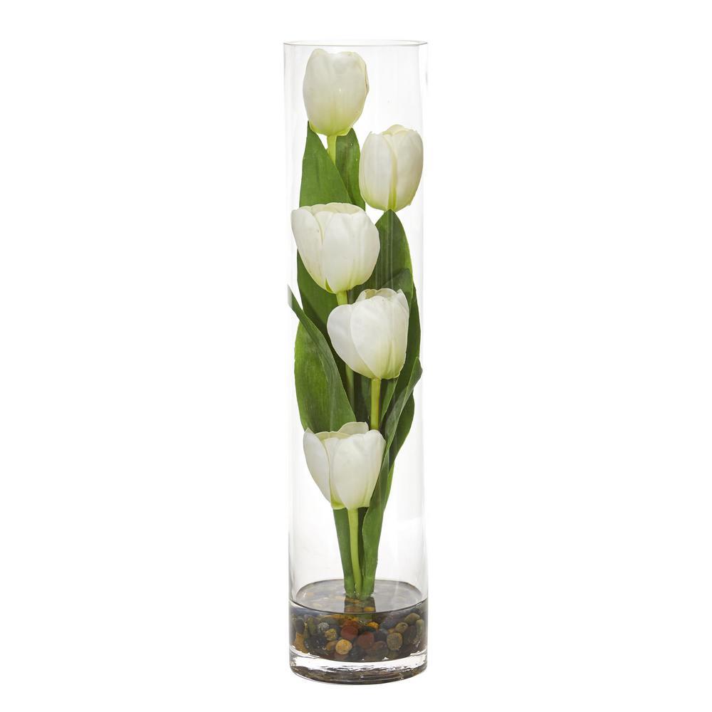 Indoor Tulips Artificial Arrangement in Cylinder Vase