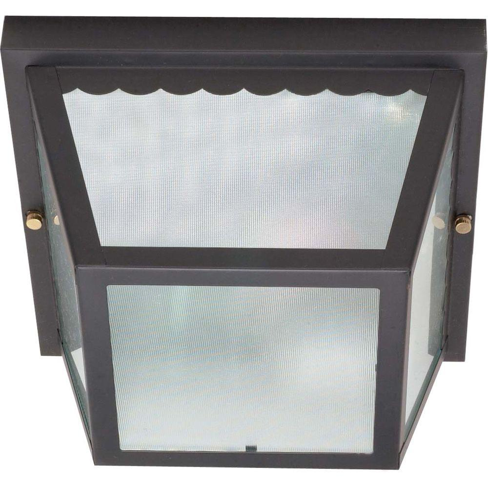 2-Light Outdoor Black Carport Flush Mount with Textured Frosted Glass