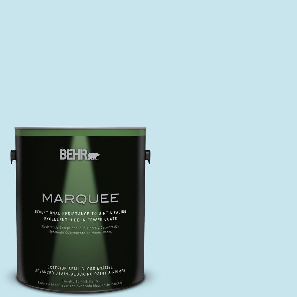 BEHR MARQUEE 1-gal. #M480-2 Igloo Blue Semi-Gloss Enamel Exterior Paint