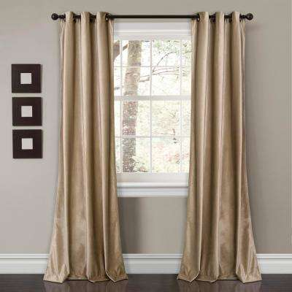 "Prima Velvet Solid Window Panels Taupe 84"" x 38"" 2-Pc Set 100% Polyester"
