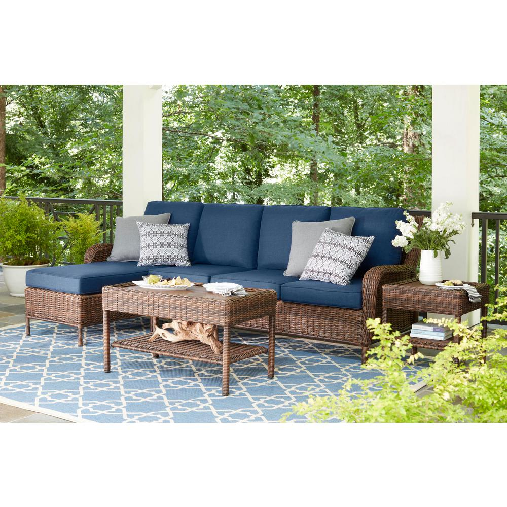 Hampton Bay Cambridge 5 Piece Brown Wicker Outdoor Patio Sectional Sofa Seating Set With Standard Midnight Navy Blue Cushions