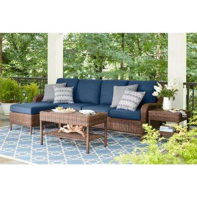 Cambridge Brown 5-Piece Wicker Outdoor Sectional Set with Blue Cushions