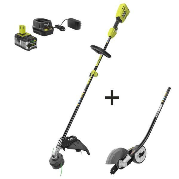 Ryobi One 18 Volt Cordless Attachment Capable Brushless String Trimmer With Edger Attachment 4 0 Ah Battery Charger Included P20110 Edg The Home Depot