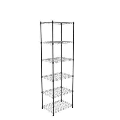 23-2/9 in. W x 60 in. H x 13-2/5 in. D 6-Shelves Black Storage Unit