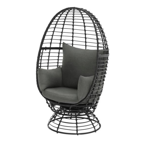 Stylewell Black Wicker Outdoor Patio Egg Lounge Chair With Gray Cushions Frs50006b Blk The Home Depot
