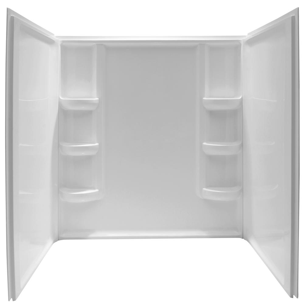 ANZZI Lex-Class 60 in. x 36 in. x 60 in. 3-piece Direct-to-Stud Alcove Shower Surround in White