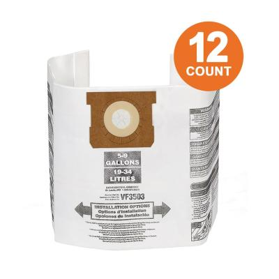 High-Efficiency Size B Dust Collection Bags for 5 to 10 Gal. RIDGID Wet/Dry Shop Vacuums, except HD06001 (12-Pack)