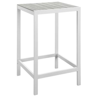 Maine Patio Aluminum Bar Height Outdoor Dining Table in White Light Gray