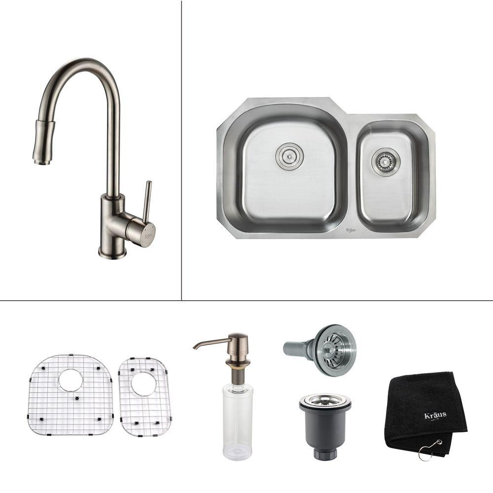 KRAUS All-in-One Undermount Stainless Steel 32 in. Double Basin Kitchen Sink with Faucet and Accessories in Satin Nickel
