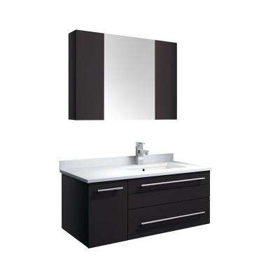 Lucera 36 in. W Wall Hung Vanity in Espresso with Quartz Stone Vanity Top in White with White Basin and Medicine Cabinet