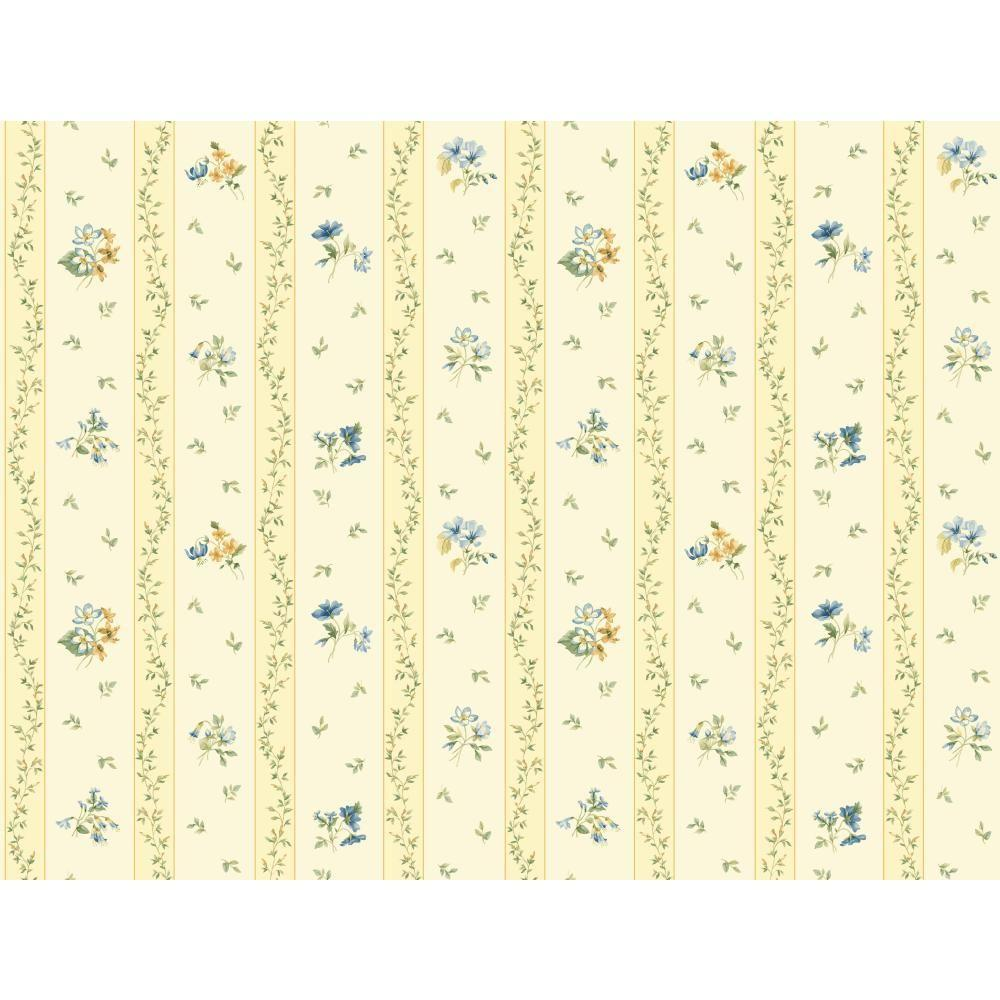 Floral Toss Stripe Wallpaper