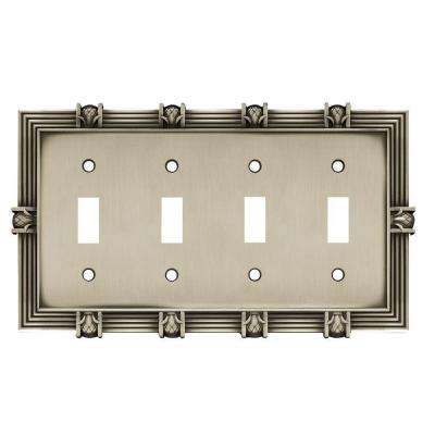 Pineapple Decorative Quadruple Switch Plate, Brushed Satin Pewter
