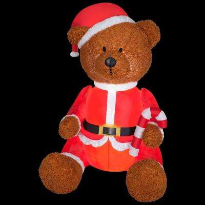 35.43 in. D x 33.07 in. W x 53.94 in. H Inflatable Fuzzy Teddy Bear with Santa Outfit