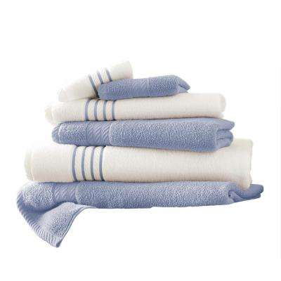6-Piece Quick Dry Stripe Towel Set in Serenity Blue