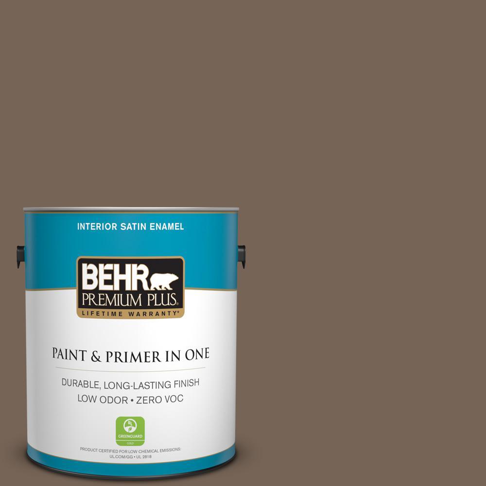 BEHR Premium Plus 1-gal. #N220-6 Landmark Brown Satin Enamel Interior Paint
