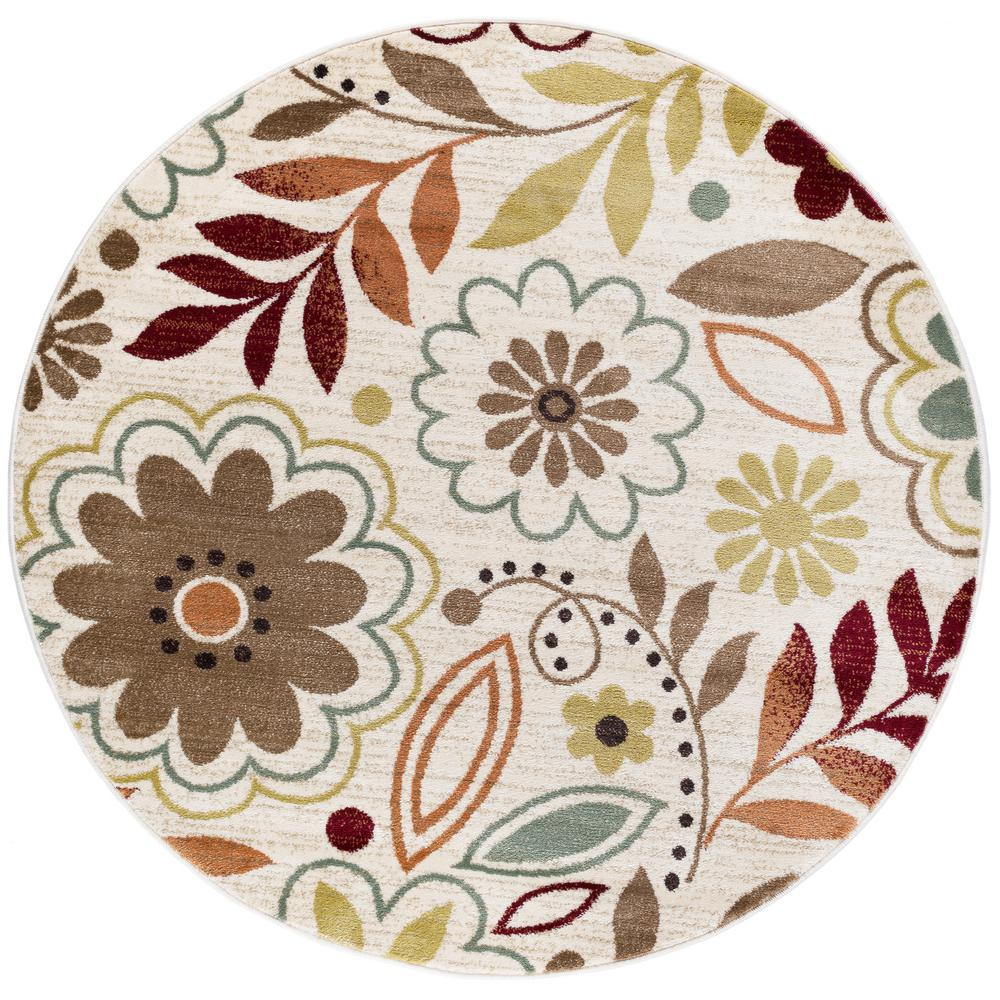 Deco Ivory 5 ft. 3 in. Transitional Round Area Rug