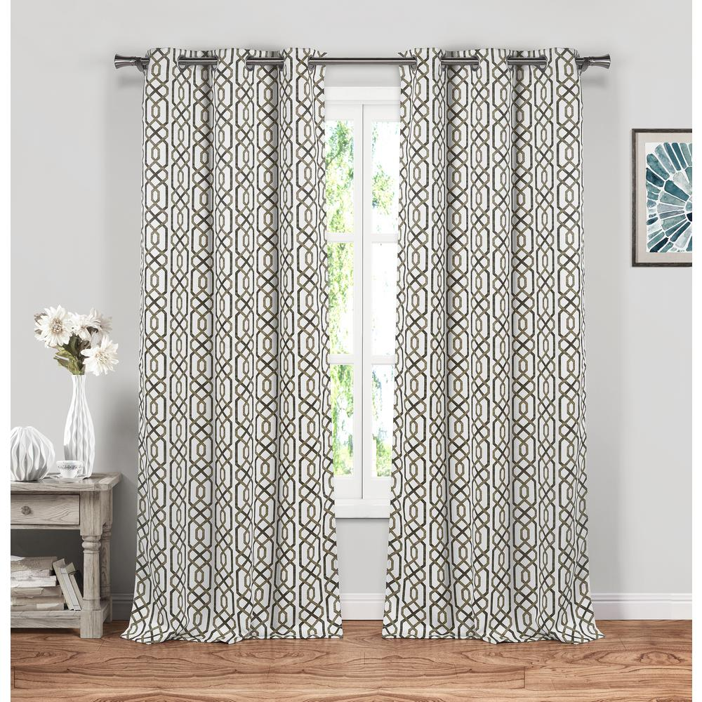 BLACKOUT 365 Geometric Taupe Polyester Blackout Grommet Window Curtain 38 in. W x 84 in. L (2-Pack)