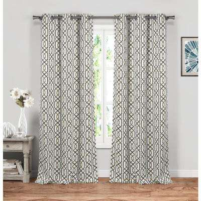 Geometric Taupe Polyester Blackout Grommet Window Curtain 38 in. W x 84 in. L (2-Pack)