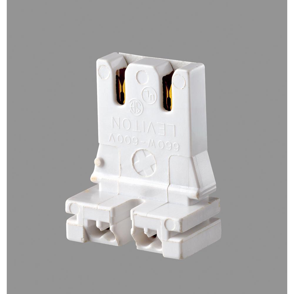 660W Medium Base Bi-Pin Low Profile Slide-On Straight-In Double Edge Standard Fluorescent Lampholder, White