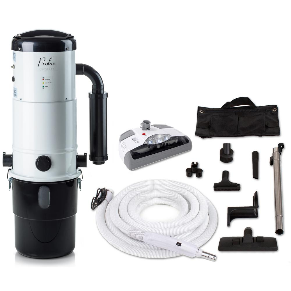 Prolux CV12000 White Central Vacuum Power Unit With Electric Hose And Nozzle Kit